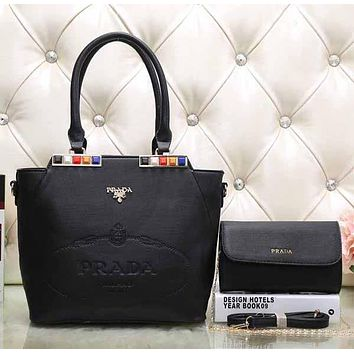 Perfect Prada Women Fashion Leather Satchel Tote Handbag Shoulder Bag Crossbody Set Two-Piece