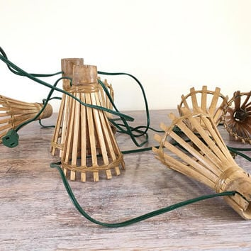 Bamboo Patio Lights Strings, Vintage Indoor Tiki Lights, Rattan Lights