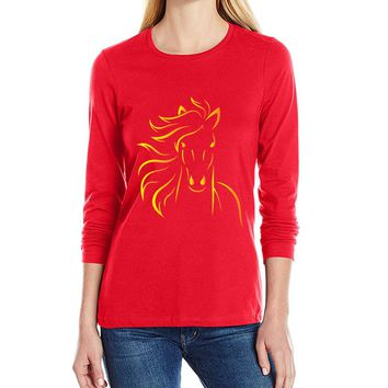 Horse printing women long sleeve t shirt kwaii streetwear tshirt 2017 novelty hip hop t-shirts female brand clothing jumper mma