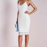 Missguided - Crepe Plunge Strappy Laser Cut Midi Dress White