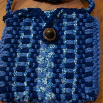 Blue Hand Woven Hip Bag, Card, Rune, or Dice Pouch - SCA, Medieval,or Renaissance Fair Coin Purse - Long for Cross Body - ONE of A KIND