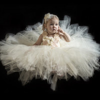 Blush flower girl tutu dress wedding dress tulle dress birthday tea party dress toddler dress 1T2T3T4T5T6T7T8T9T10T