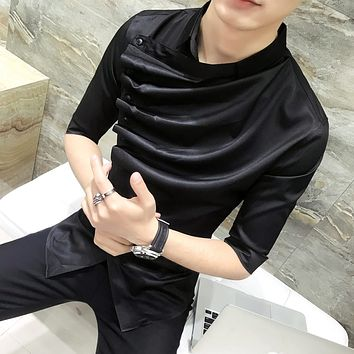 2018 Summer Gothic Shirt Ruffle Designer Collar Shirt Black And White Korean Men Fashion Clothing Prom Party Club Even Shirts