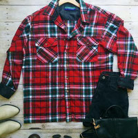 Grunge Flannel-Red & Green