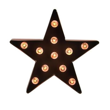 "9"" Lighted Brown 5-Point Metal Star Decorative Christmas Tree Topper - Clear Lights"