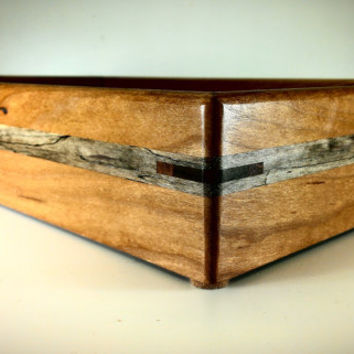 Reclaimed Cherry and Spalted Maple Wood Serving Tray - Ships Free to Lower 48 States