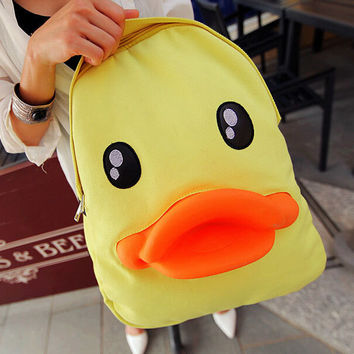 Cuter duck backpack canvas bag gift 07