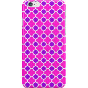 Pink Purple and White Quatrefoil Pattern by TigerLynx