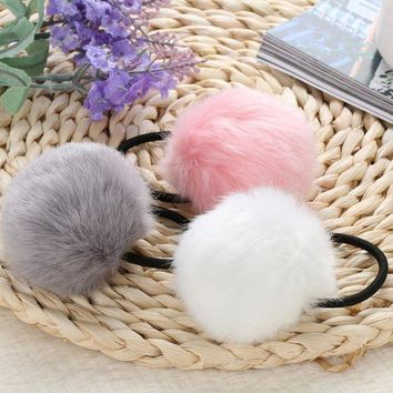 ICIKWJ7 Korean Artificial Rabbit Fur Ball Elastic Hair Rope Rings Ties Bands Ponytail Holders Girls Hairband Headband Hair Accessories
