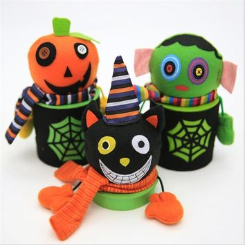 Creative Pumpkin/Ghost/Zombie/Black Cat Goody Bottle Case Candy Jar Household Home Decor Halloween Party Festival Supplies P0.2