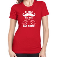 Big Sister Big Sis T-Shirt Big Sister for BABY Big Brother Big Bro Siblings baby Tshirt for babies Mustache