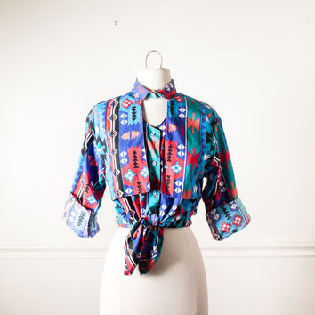 Vintage Western Shirt | Southwestern Print Rockabilly 80s Shirt 1980s Cowgirl Cowboy Rodeo Cut Out 80s Blouse 80s Top Button Down Retro Boho