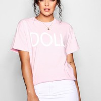 Doll Slogan T-Shirt | Boohoo
