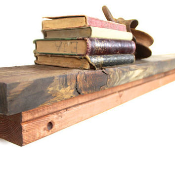 Distressed Floating Shelf made from repurposed barn wood.... Handmade by TangleandFold