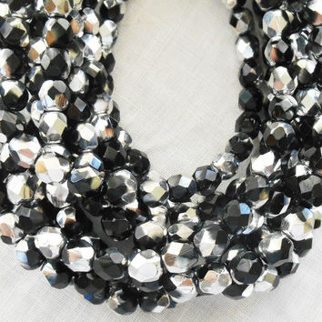 Lot of 25 6mm multicolored jet black and silver Czech glass beads, firepolished, faceted round beads C2425