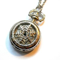 Frozen In Time: snowflake pocket watch necklace