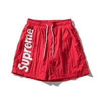 Supreme 2018 men and women tide brand thin section couple five shorts F-A-KSFZ red