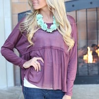 Ruffle Block Sheer Top Maroon
