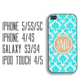 Tiffany Blue Damask Monogram Phone Case, iPhone 5, iPhone 5s, iPhone 5c, iPhone 4, iPhone 4s, Galaxy S3, S4 and S5 monogram phonecase FCM123