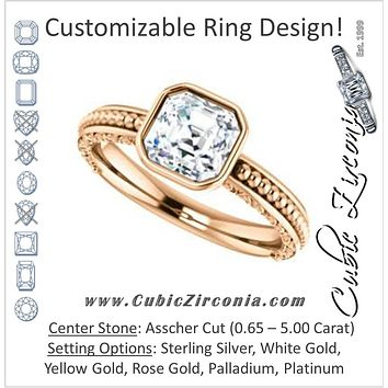 Cubic Zirconia Engagement Ring- The Cheyenne (Customizable Asscher Cut Bezel-set Solitaire with Beaded Filigree Three-sided Band)