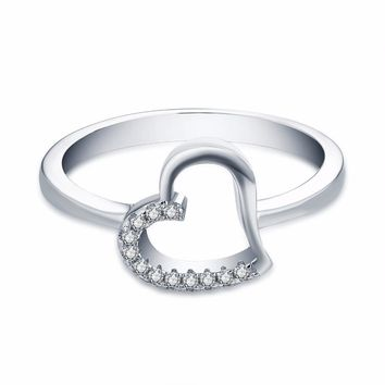 Women's Sterling Silver Heart Shape Center Ring