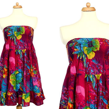 Tropical Flowers Dress With Shirred Top