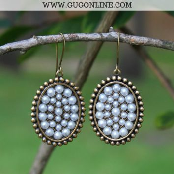 Pink Panache Small Bronze Oval Earrings with Pearls