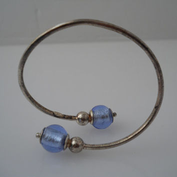 Sterling Silver 925 Flexible Offset Cuff Blue Bead Bracelet Italy 925