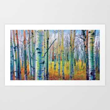 Aspen Trees in the Fall Art Print by Heidi Haakenson
