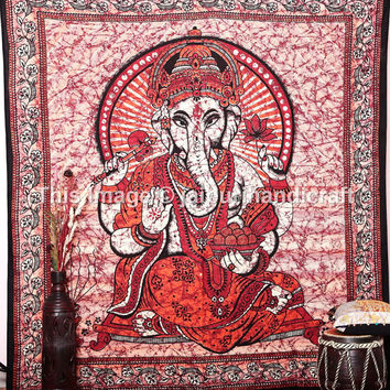 Indian Ganesha Hippie Tapestry, Wall Hanging Bedspread Cover, Ethnic Decor Art, Queen Size Wall Hanging, Meditation God Ganesha tapestry