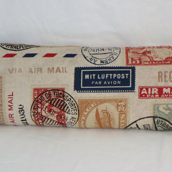 Stamp Lovers Pillow - 100% Cotton Red Navy Aqua Gold Long Skinny Bolster Airmail Stamps and Postmarks Postale