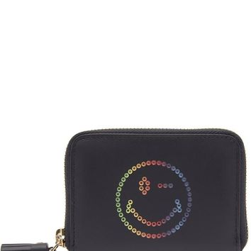 Small Rainbow Wink Circus Leather Zip-Around Wallet