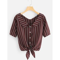 Stripe V Neck Knot Shirt