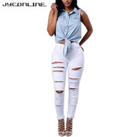 Woman Plus Size Ripped Hole Elastic Jeans High Waist Jeans