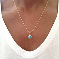 Gold Evil Eye Necklace Swarovski Crystal