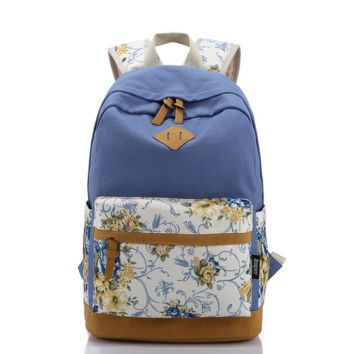 Canvas College Backpack School Bag Vintage College Laptop Bag