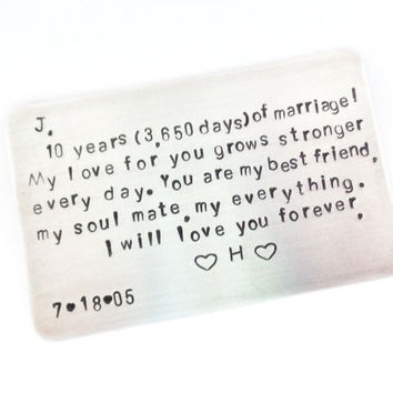 Personalized Anniversary Gift | 10 Year Anniversary Gift | Husbands Gift | Gift For Him | Fathers Gift | Custom Stamped by Timeless Maiden