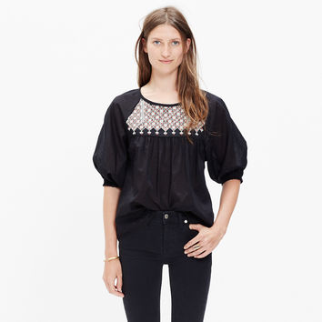 STARFLOWER SHIRRED PEASANT TOP
