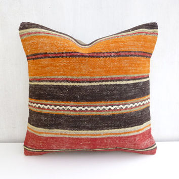 Orange and Brown Kilim Pillow Covers with Large Stripes