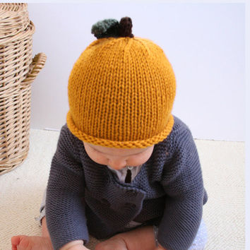 Hand Knit Mustard Yellow Pear Winter 612M and 1224M by beliz82