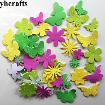 45PCS/LOT,Butterfly flower foam stickers Early learning educational craft diy toys Baby room decoration Kindergarten creative