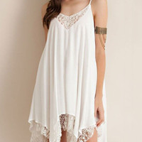 White Straps Chiffon Stitching Lace Hem Irregular Mini Dress