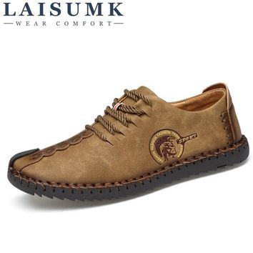 2017 LAISUMK New Fashion Comfortable Men Flat Shoes Lace-up Solid Male Causal Shoes Footwear huarache Hot Sale SIZE 39-46