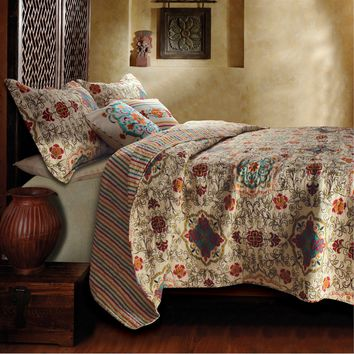 King Size 5 Piece Reversible Cotton Quilt Set With Bohemian Motif
