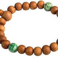 Sandalwood Amazonite Beaded Stretch Bracelet Wood Chakra Healing Yoga Meaningful Spiritual Gemstone
