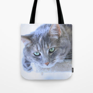 Aqua Eyes Tote Bag by Theresa Campbell D'August Art
