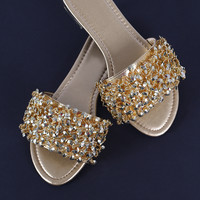 Beaded Cluster Open Toe Slide Flat Sandal | UrbanOG