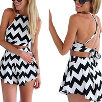 2015 Summer Dress Fashion Sleeveless Casual Women Beach Dresses Mini Sexy vestidos de fiesta 2 piece set 6949