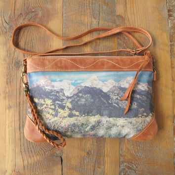 Small Messenger Bag, Small Cross Body, Leather Clutch, Leather Purse, Mountain Bag, Teton National Park, Leather Wristlet