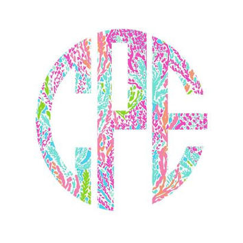 Lilly Pulitzer Monogram Decal, Lilly Inspired Decal Monogram, Lilly Pulitzer Decal, Lilly car decal, Lilly Pulitzer Yeti decal Custom Decal